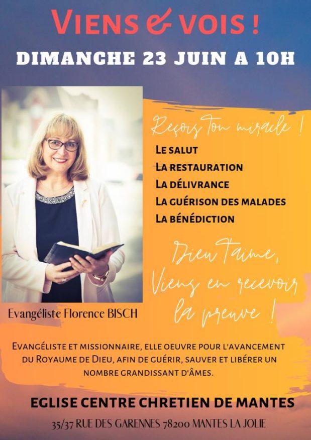 Venue de l'Evangéliste Florence Bisch dimanche 23 juin – 10H